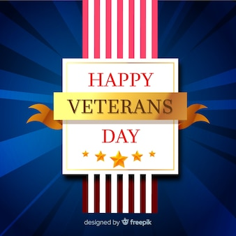 Veterans day golden ribbon background