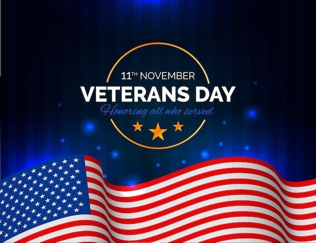 アメリカの国旗とリアルなスタイルの復員軍人の日のイラスト