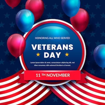 Veterans day illustration in realistic style