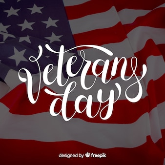 Veterans day lettering with photo
