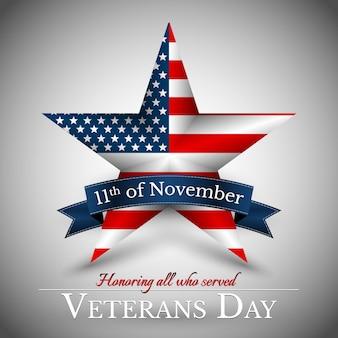 День ветеранов сша со звездой в цветах национального флага американский флаг. чествование всех, кто служил.