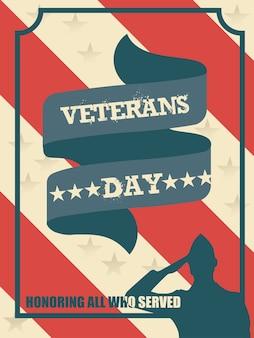 재향 군인의 날 포스터 빈티지