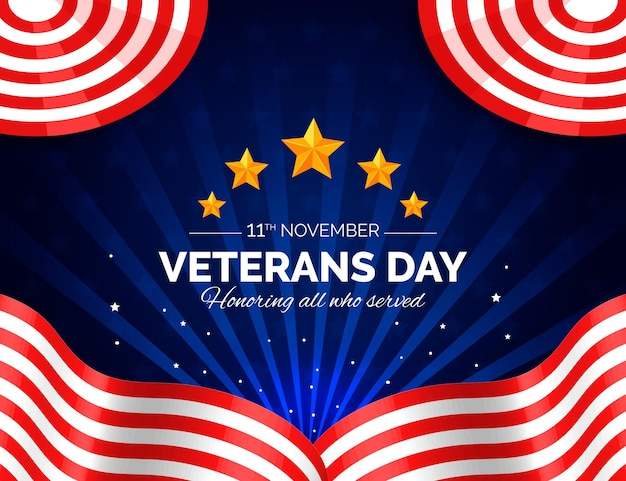 Veterans day realistic style with stars