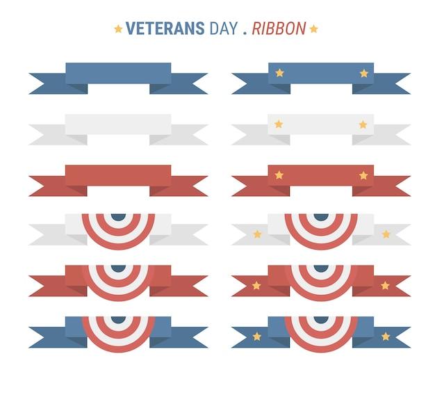 Veterans day ribbon flat design.