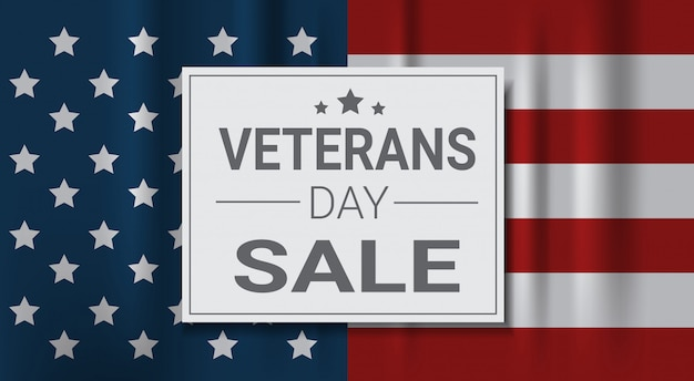 Veterans day sale celebration shopping promotions and price discount national american holiday banner