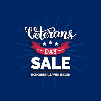 Veterans day sale lettering with ribbon illustration. november 11 holiday background. celebration poster with stars. discount card in .