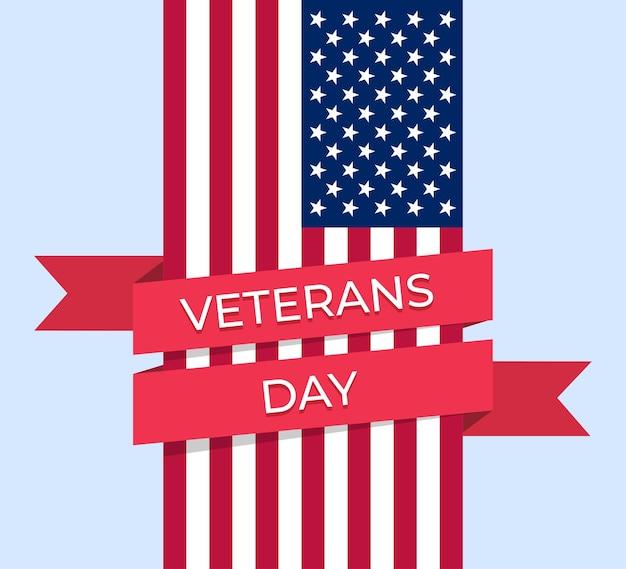 退役軍人の日。赤いリボンで包まれたアメリカの国旗