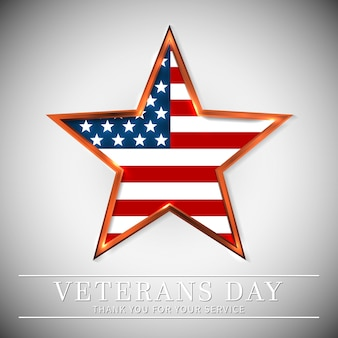 Veterans day of usa with star in national flag colors american flag. honoring all who served.