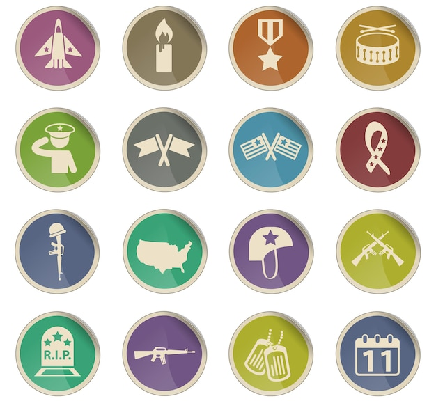 Veterans day vector icons in the form of round paper labels
