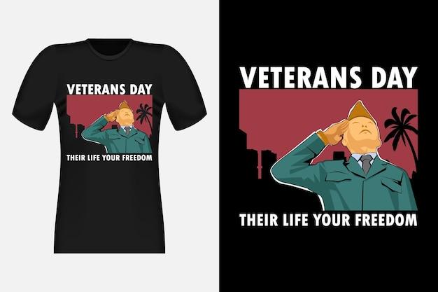 Дизайн винтажной ретро футболки ко дню ветеранов