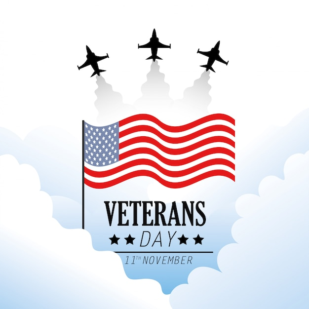 Veterans day with flag and military airplane