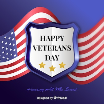 Veterans day with realistic flag background