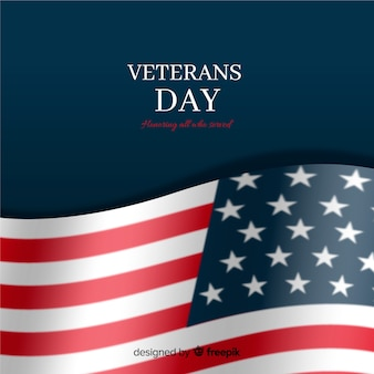 Veterans day with realistic flag and dark background