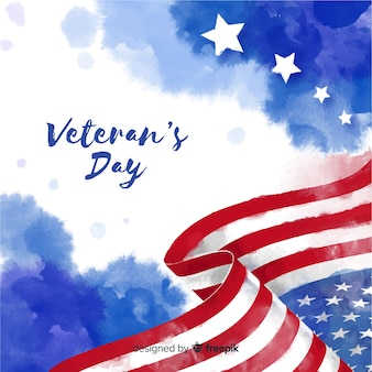 Veterans day with watercolor flag background