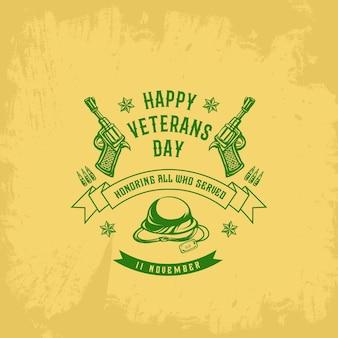 Дни ветеранов шаблон старинный знак