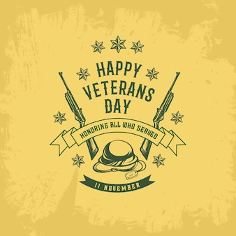 Шаблон ветеранов дней в винтажном стиле