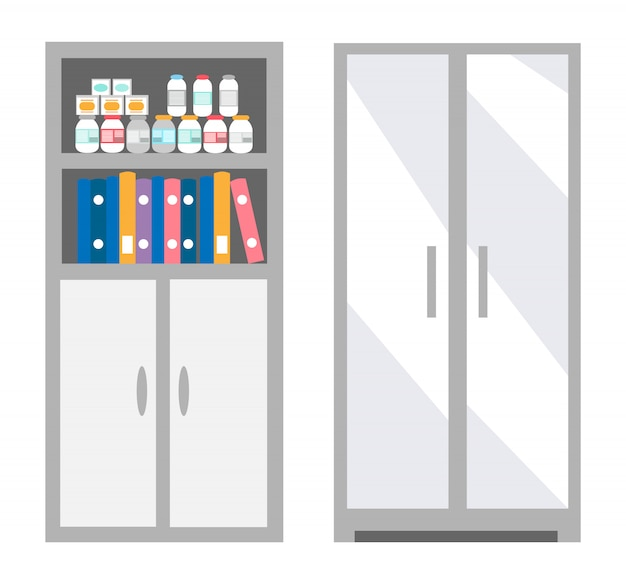 Veterinarian bookcase with files and bottles set