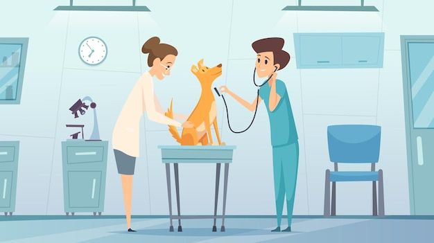 Veterinarian clinic. doctor in cabinet examining pets dog treatment health vector therapy center vet clinic cartoon background. veterinarian hospital and check up dog in cabinet illustration