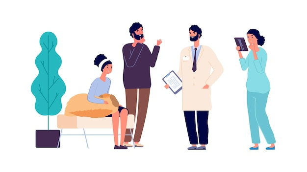 Veterinarian consultation. vet clinic doctors help people with dog. woman hugs her pet and man talk with medical team. vector animal healthcare illustration. pet veterinary, doctor help dog