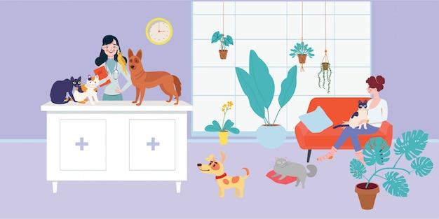 Ветеринар осматривает собаку и кошку в ветеринарном кабинете. ветеринарная клиника, домашние животные, ветеринарная клиника.