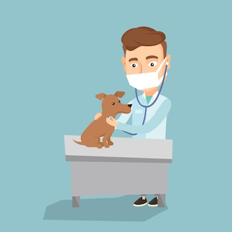 Veterinarian examining dog vector illustration.