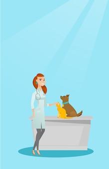 Veterinarian examining dogs vector illustration.