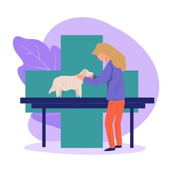 病気の犬を診察する獣医、動物の世話と助けのための診療所