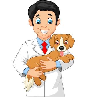 Veterinarian holding small dog