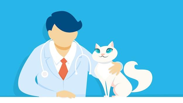ペットの猫を保持している制服を着た獣医。