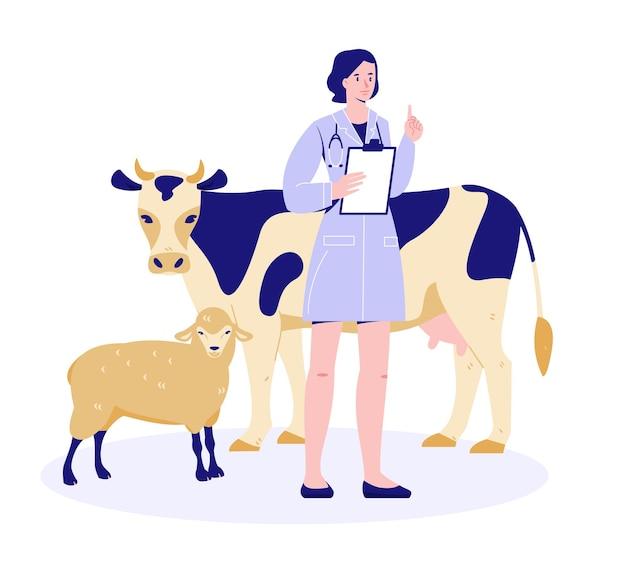 Ветеринар с коровой и овцой проверка здоровья подготовка к вакцинации