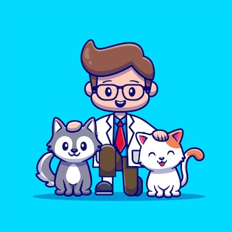 고양이와 개 수의사. 사람 동물