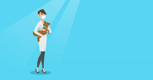 Veterinarian with dog in hands vector illustration