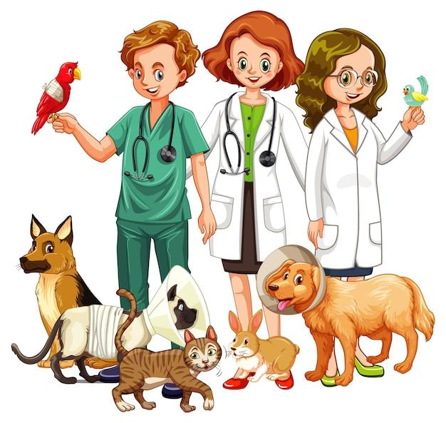 Ветеринарный врач со многими видами животных