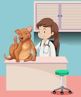 Veterinarian with sick animal