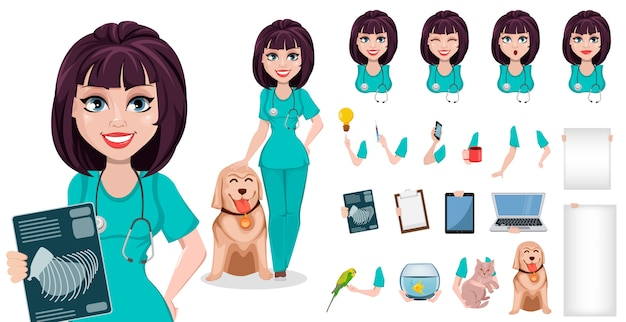 Veterinarian woman cartoon character