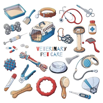 Veterinary accessories for care cats and dogs. vector.