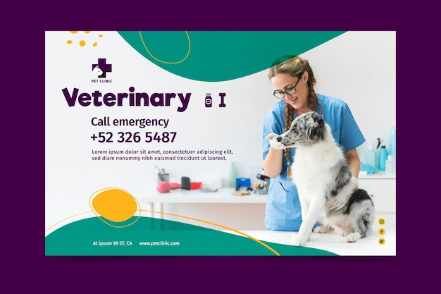 Veterinary banner template with photo