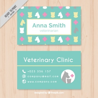 Veterinary card with animal silhouettes