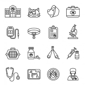 Veterinary care icon set. Thin Line Style stock vector.