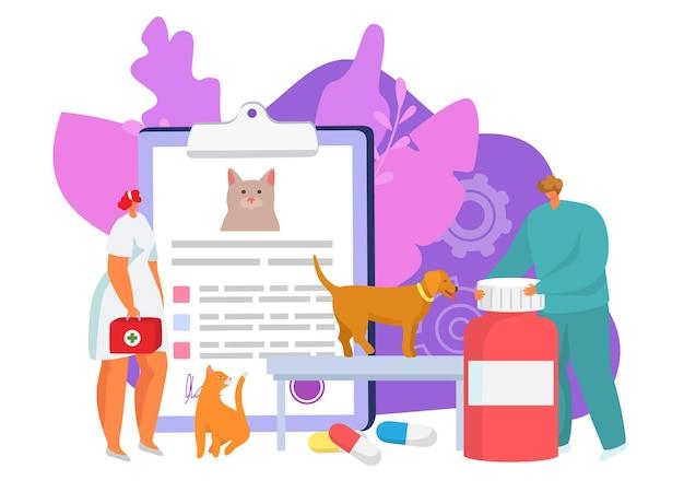 クリニックでの獣医ケアベクトルイラスト獣医のキャラクターはペットの獣医学の丸薬を助けます...