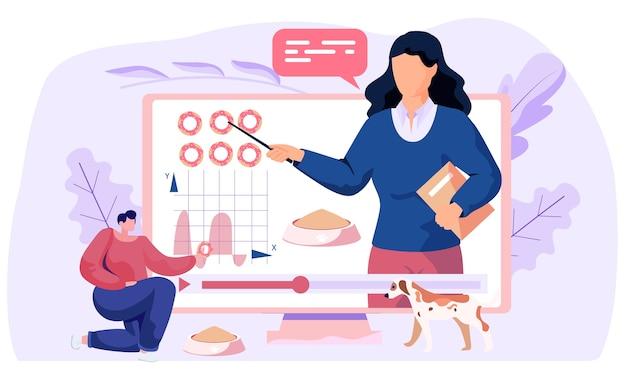 수의학 관리, 집에서 개를 키우고 먹이는 방법에 대한 비디오 자습서, 강아지를위한 다이어트 음식. 컴퓨터 화면의 여성 동물 영양 전문가가 국내 강아지 식사에 대해 강의합니다.