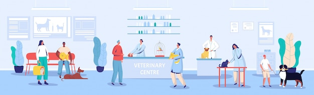 Veterinary center reception and waiting room  illustration