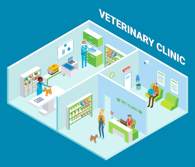 Veterinary clinic cutaway interior flat isometric