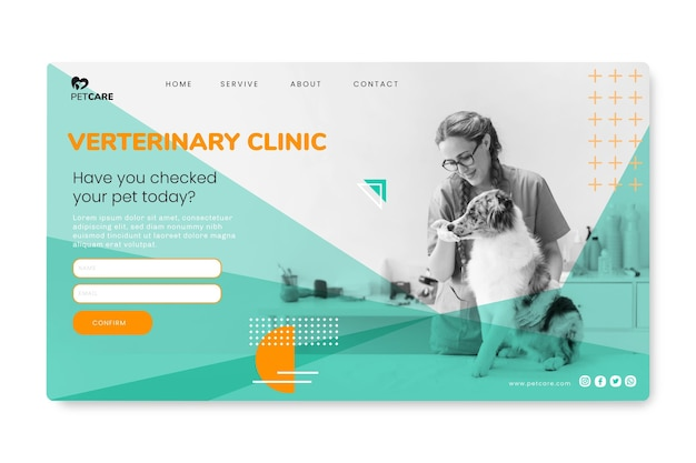 Veterinary clinic and healthy pets landing page