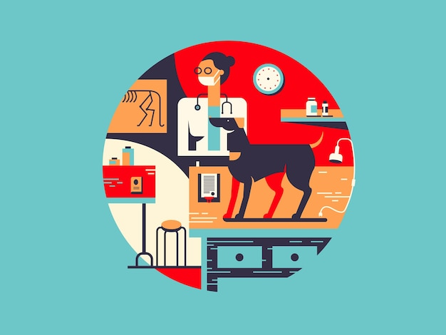 Иллюстрация ветеринарной клиники в плоском дизайне