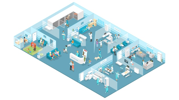 Veterinary clinic interior with reception, waiting hall, examination and operating rooms.