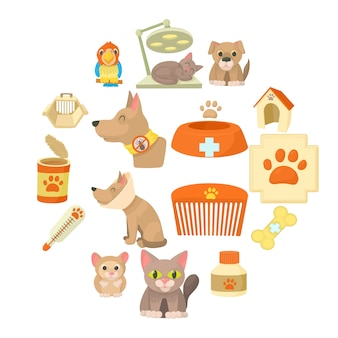Veterinary clinic items icon set, cartoon style