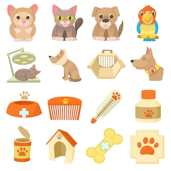 Veterinary clinic items icons set