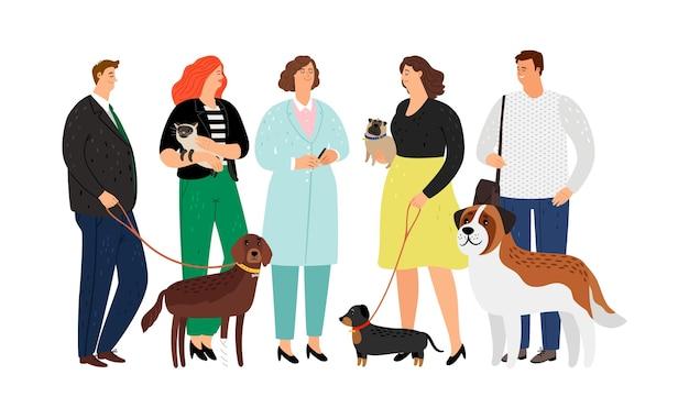 Ветеринарная концепция. ветеринарный врач, животные и владельцы домашних животных.