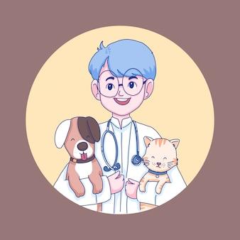 Дизайн персонажей ветеринарный врач доктор и домашние животные иллюстрации шаржа.